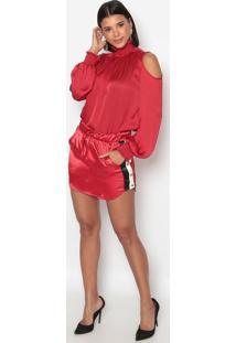 Blusa Lisa Com Ombros Vazados- Vermelha- Charrycharry