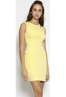 Vestido Com Recorte Vazado - Amarelomoiselle