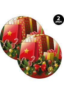 Capa Para Sousplat Mdecore Natal Presente Vermelho 2Pçs