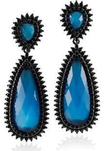Brinco Giullia Ferraz Store Giullia Ferraz Store Gota Feminino - Feminino-Azul+Preto