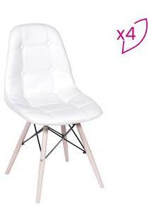 Or Design Jogo De Cadeiras Eames Boton㪠Branco & Bege Claro 4Pã§S