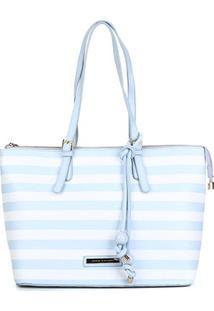 Bolsa Couro Jorge Bischoff Shopper Listrada Feminina - Feminino-Branco+Azul Claro