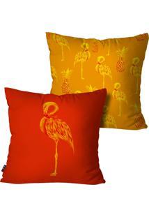 Kit Com 2 Capas Para Almofadas Pump Up Decorativas Laranja Flamingos 45X45Cm