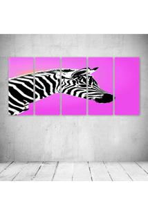 Quadro Decorativo - Zebra Pink - Composto De 5 Quadros