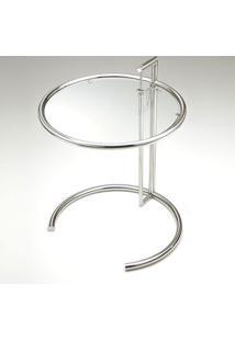 Mesa Lateral Eileen Gray Ajustável Tampo De Vidro Aço Inox Clássica Design By Eileen Gray