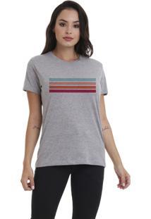 Camiseta Jay Jay Bã¡Sica Faixas Cinza Mescla Dtg - Cinza - Feminino - Dafiti
