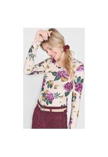 Blusa Malwee Floral Bege