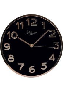 Relógio De Parede Rose Gold E Preto 35 Cm