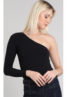 Body Feminino Canelado Um Ombro Só Preto