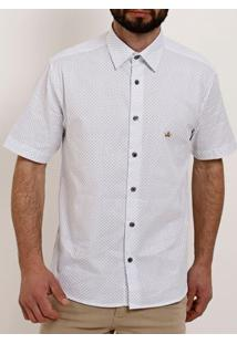 Camisa Slim Fit Manga Curta Masculina Branco
