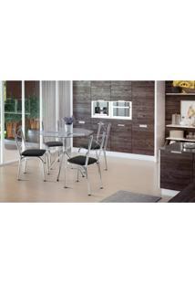 Conjunto Mesa 4 Cadeiras Amarok Brastubo Incolor / Preto