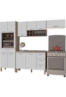 Cozinha Modulada Ametista 4 Módulos Composição 3 Nogal/Branco - Kit'S