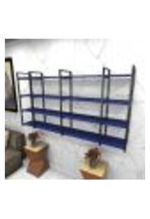 Estante Estilo Industrial Sala Aço Cor Preto 180X30X98Cm (C)X(L)X(A) Cor Mdf Azul Modelo Ind57Azsl