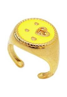 Anel Dedinho Coração Amarelo Banhado A Ouro 18K