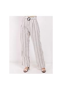 Calça Pantalona Listrada Feminina Branco