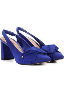 Scarpin Couro Tanara Salto Médio Slingback - Feminino-Azul