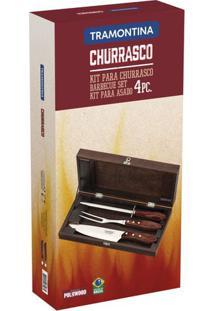 Kit Para Churrasco Inox Da Tramontina Com Cabo Castanho Polywood - 4 Peças