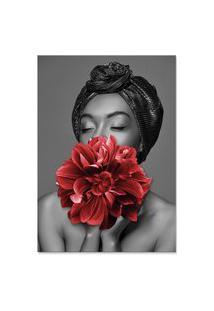 Quadro 60X90Cm Canvas Dandara Mulher Com Flor Vermelha Nórdico