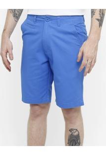 Bermuda Blue Bay Chino Sarja Color Reta Masculina - Masculino