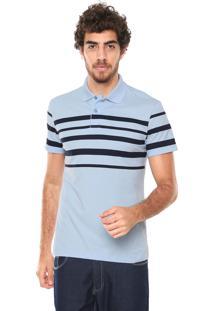 Camisa Polo Malwee Slim Listrada Azul