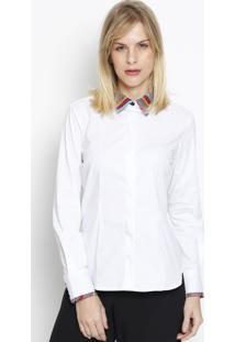 Camisa Lisa Jacquard- Branca & Rosa- Vip Reservavip Reserva