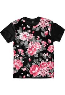 Camiseta Bsc Pink Dark Flowers Sublimada Preto