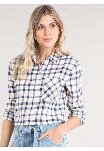 Camisa Feminina Cropped Em Flanela Estampada Xadrez Manga Longa Rosê