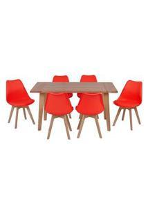 Conjunto Mesa De Jantar Em Madeira 150X80 Vértice + 6 Cadeiras Leda - Vermelho
