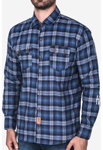 Camisa Hermoso Compadre Xadrez Masculina - Masculino-Azul