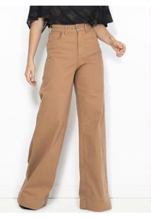 Calça Sarja Pantalona Marrom