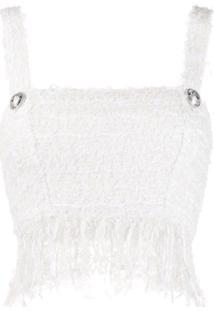 Balmain Blusa Cropped De Tweed - Branco