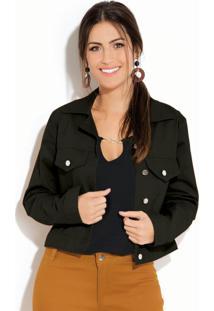 Jaqueta Preta Em Sarja Com Botões