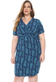 Vestido Cativa Plus Curto Transpasse Azul