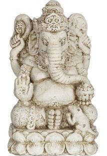 Escultura Ganesh Em Cimento 35Cm   Bali