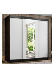 Guarda-Roupa Casal Madesa Reno 3 Portas De Correr Com Espelho Preto/Branco Cor:Preto/Branco