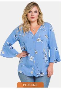 Blusa De Tecido Com Estampa Floral Delicada Azul