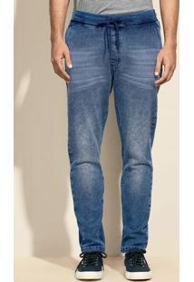 Calça Masculina Em Moletom Jeans E Modelagem Jogger
