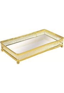 Bandeja Mart De Metal Com Espelho Dourado Leo 7175