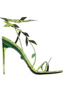 Versace Sandália De Couro Verde Com Salto Agulha De 110Mm - Preto