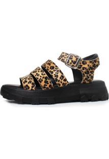 Sandália Damannu Shoes Ellie Onça Feminina - Feminino-Onça