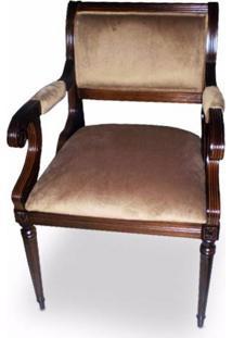 Cadeira Torneada Entalhada Em Madeira Com Pinturas E Tecidos Personalizados