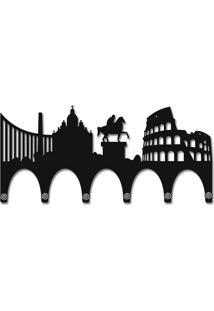 Porta Chaves De Parede Mdf 6 Pontas Roma Preto Smartfix