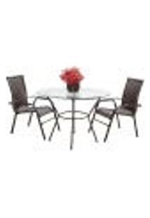 Conjunto 2 Cadeiras E Mesa Alta Com Tampo Bela, Jardim, Fibra Sintetica Pedra Ferro