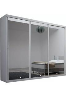 Guarda-Roupa Brilhante Com Espelho - 3 Portas - 100% Mdf - Branco
