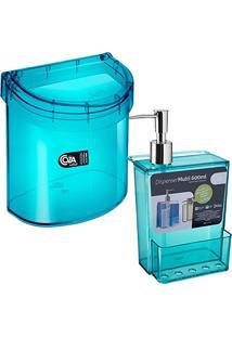 Kit Pia Lixeira E Porta Detergente Esponja Dispenser Verde