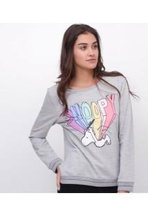 Blusa De Pijama Em Moletom Com Estampa Snoopy