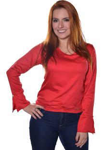 Blusa Carbella Manga Comprida Punho Acerto Vermelha