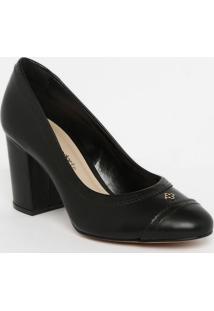 Sapato Tradicional Em Couro Com Microfuros - Preto- Capodarte