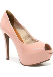 Sapato Bebece Peep Toe Salto Fino - Feminino-Rosa