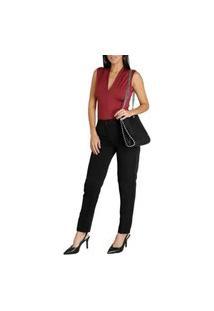 Calça Social Feminina Cintura Alta Para Uniforme Preta Preto